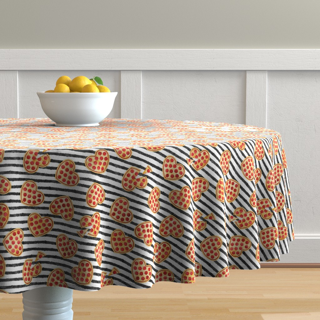 Malay Round Tablecloth featuring heart shaped pizza - valentines day - black stripes by littlearrowdesign