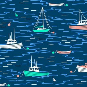 Harbor Boats navy extra large