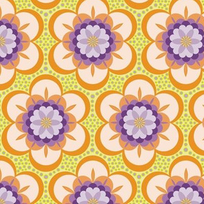 Bold  floral - purple, orange and lime
