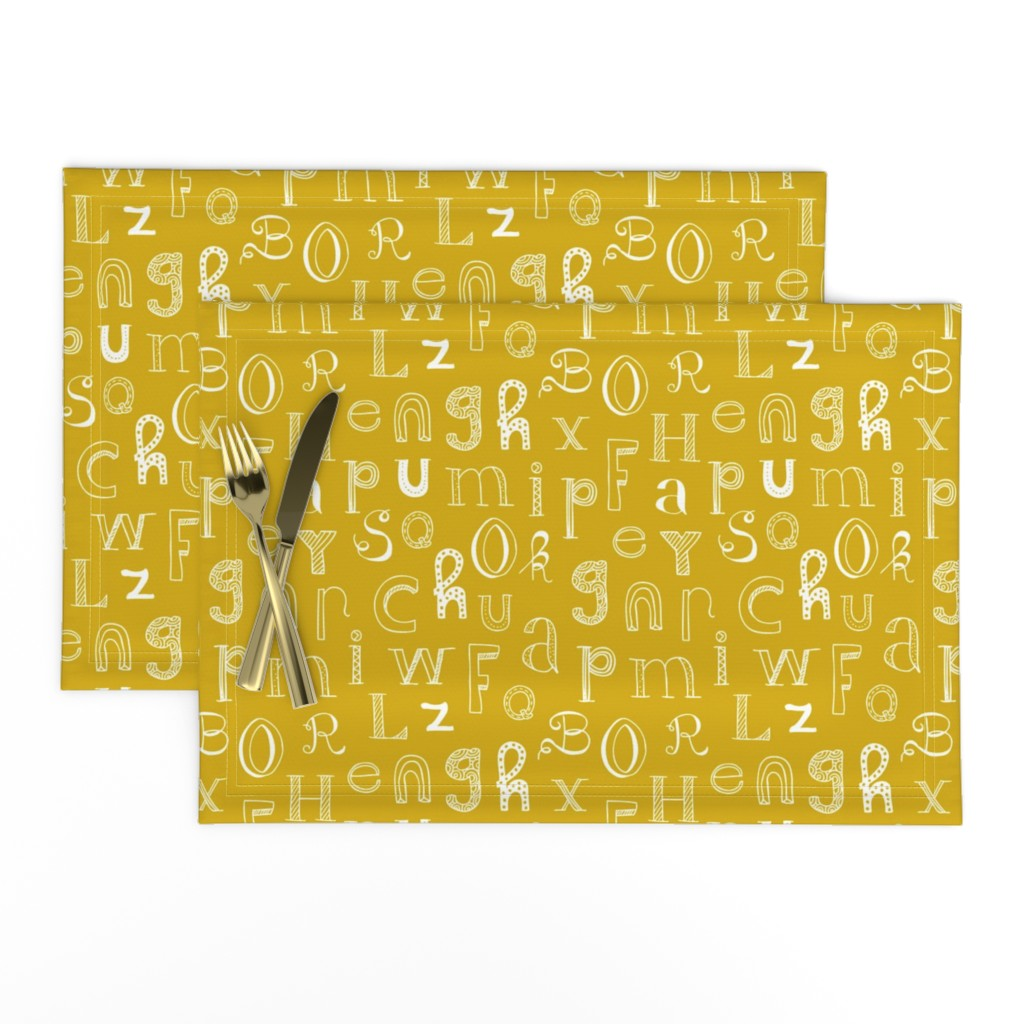 Lamona Cloth Placemats featuring Cool kids alphabet abc back to school design type text font fabric yellow mustard gender neutral fall winter by littlesmilemakers