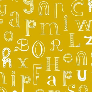 Cool kids alphabet abc back to school design type text font fabric yellow mustard gender neutral fall winter