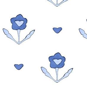 Vintage lovely floral pattern in periwinkle blue