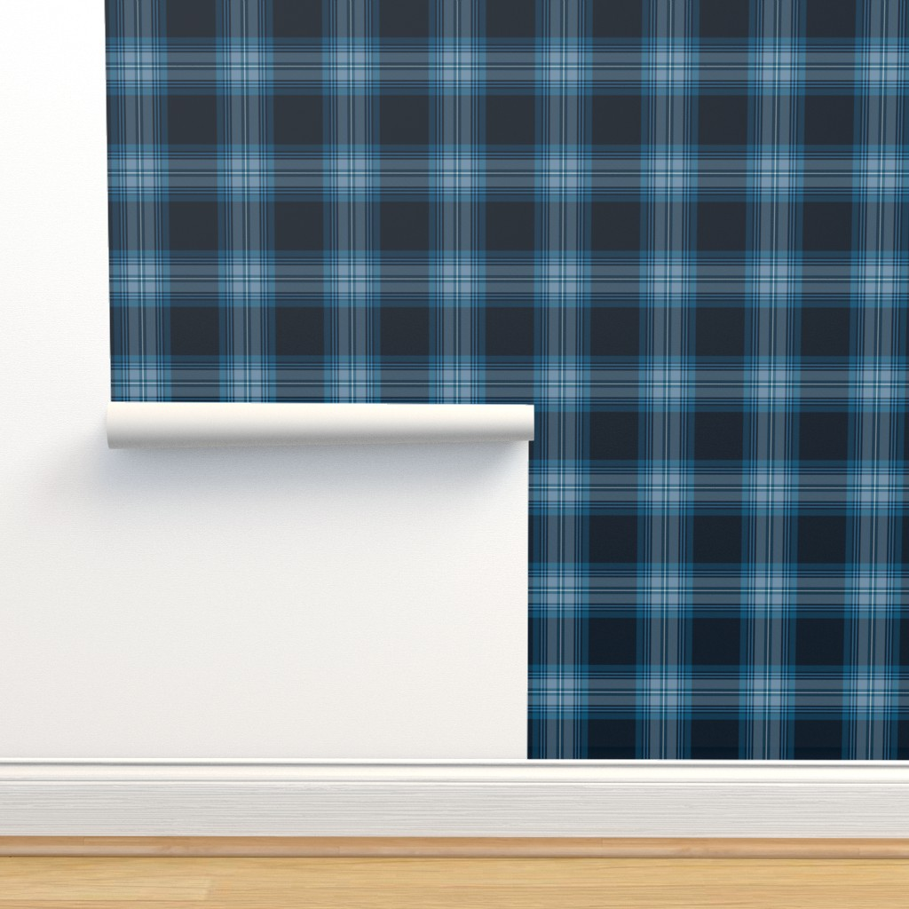 Isobar Durable Wallpaper featuring Tramaine Plaid in Blues by gigi&mae