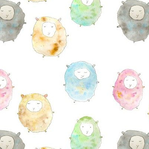 Watercolor baby sheep