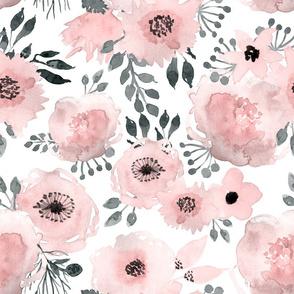 """18"""" Blush Watercolor Roses"""