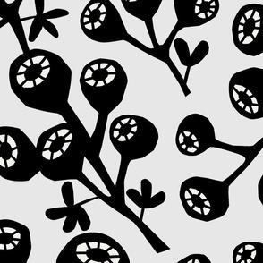 Black and White Large Scale Botanical Geometric Paper Cutout