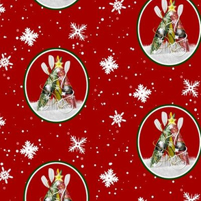 Kayak Christmas Tree pattern - winter kayaks in the snow - red