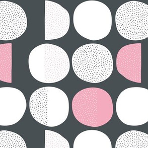 Abstract moon cycle phase Scandinavian minimal retro circle design gender neutral gray pink