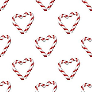 candy cane hearts on white
