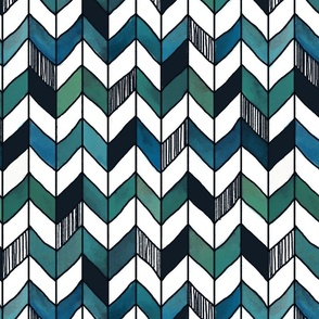 Large Painted Herringbone White, Turquoise, and Emerald