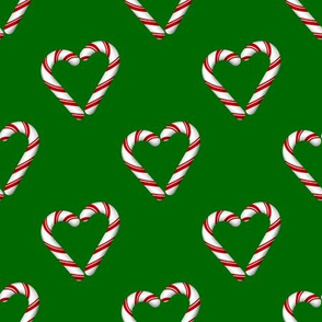 candy cane hearts on green