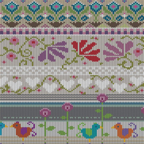 flowers and hearts stitches