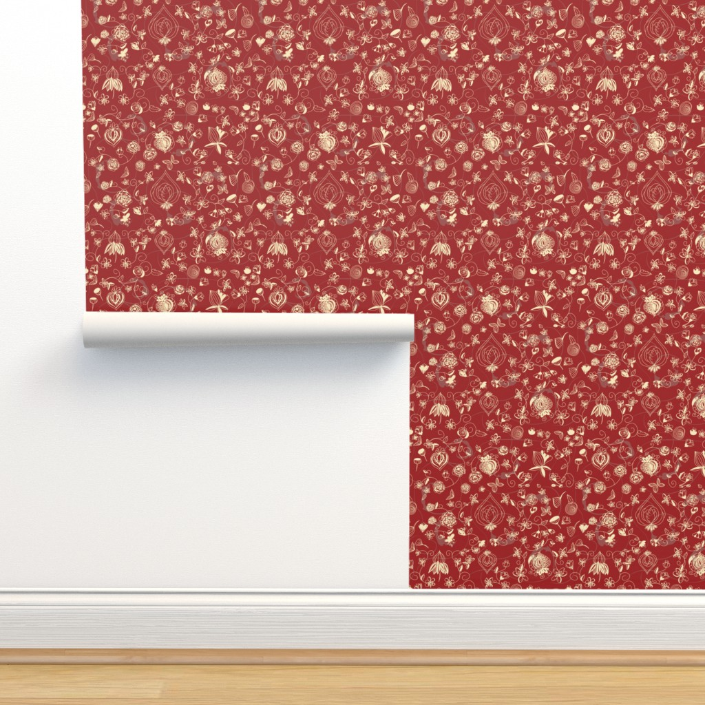 Isobar Durable Wallpaper featuring Red and Cream Chinoiserie by stasiajahadi