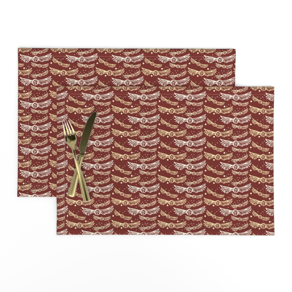Lamona Cloth Placemats featuring golden wings, on Maroon Red by katie_hayes