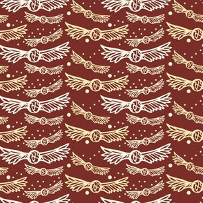 golden wings, on Maroon Red