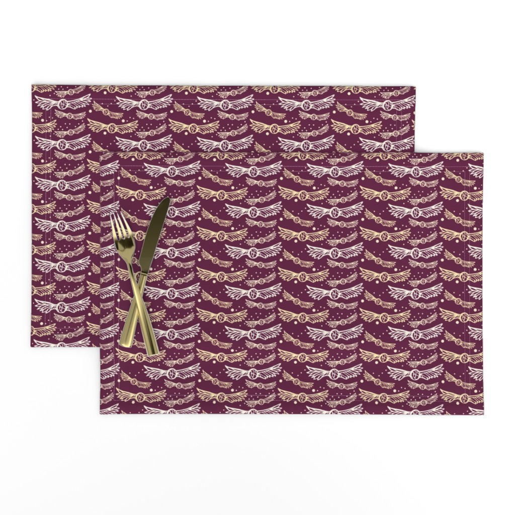 Lamona Cloth Placemats featuring Golden Wings on Crimson/Plum by katie_hayes