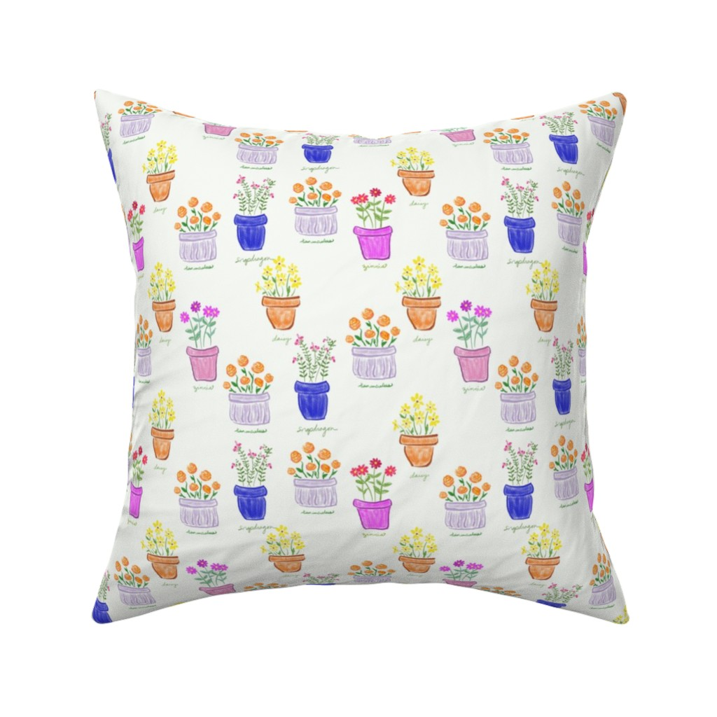 Catalan Throw Pillow featuring More Happy Pots by teawithxanthe