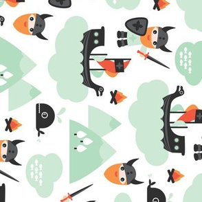 Cute kids historical hero theme viking battle ship whale and scandinavian woodland in mint and orange rotated