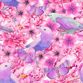 Pastel Watercolor Flowers And Birds