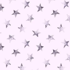 Tender grey stars on pink || watercolor night sky pattern