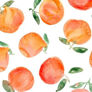Watercolor oranges, larger scale