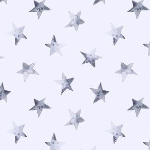 Tender grey stars on blue || watercolor sky pattern