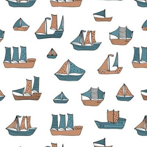Fishing sailing boats and pirate ships on the shore and at sea blue winter boys