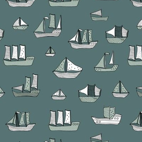 Fishing sailing coastal boats and pirate ships on the shore and at sea dusty green winter
