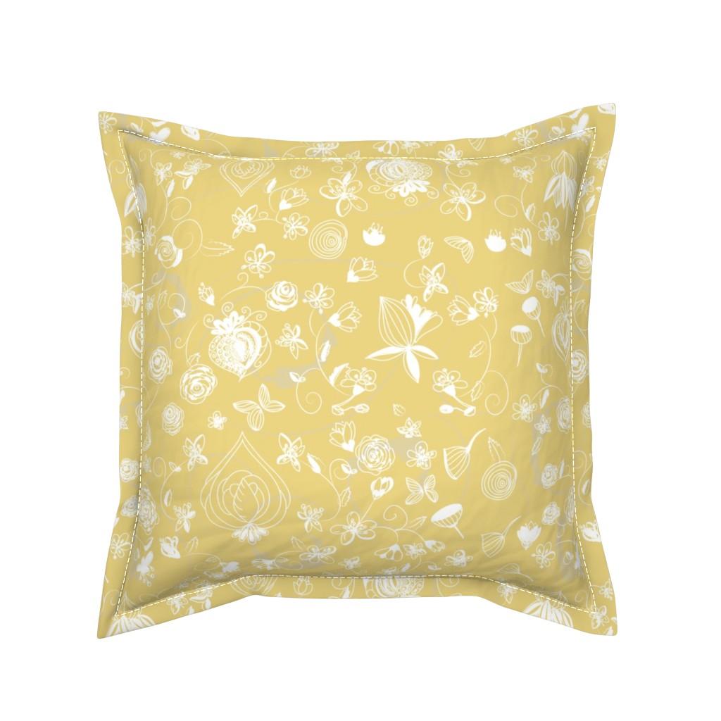 Serama Throw Pillow featuring Light Gold Chinoiserie by stasiajahadi