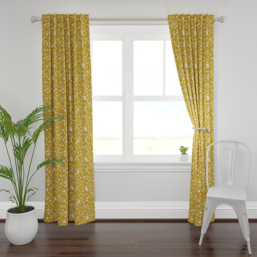 Plymouth Curtain Panel featuring Gold and White Chinoiserie by stasiajahadi