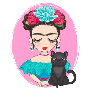 Frida with Cat Pillow