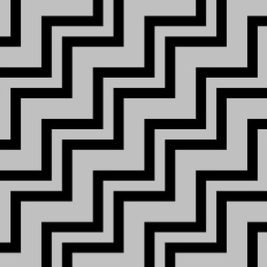 Big Small Size Silver Black Color Stairs Chevron Zig Zag Pattern