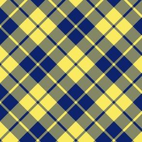 yellow and navy diagonal tartan