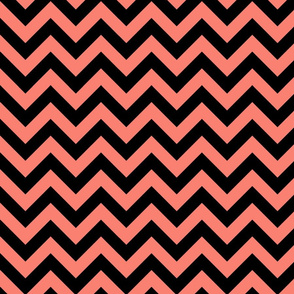 Salmon Pink Black Color Chevron Zig Zag Pattern