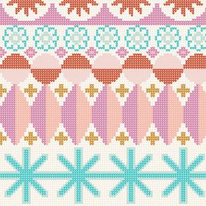 Fair Isle Castle* (Large-Scale) || faux knit knitting geometric holiday christmas pixel pixels pixelated stars snowflakes diamonds jumbo