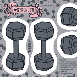 I ♥ STRENGTH Dumbbell - Cut and Sew Pillow