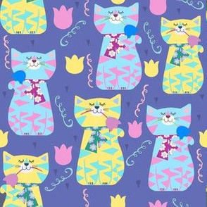 Kitty Cat Pals Purr On Purple