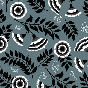 Monochrome Floral with Geometics - Large Scale