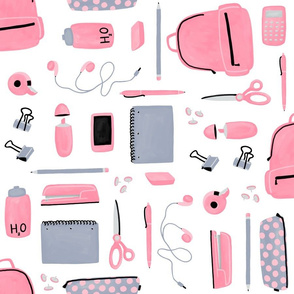 Pink and Grey School Supplies