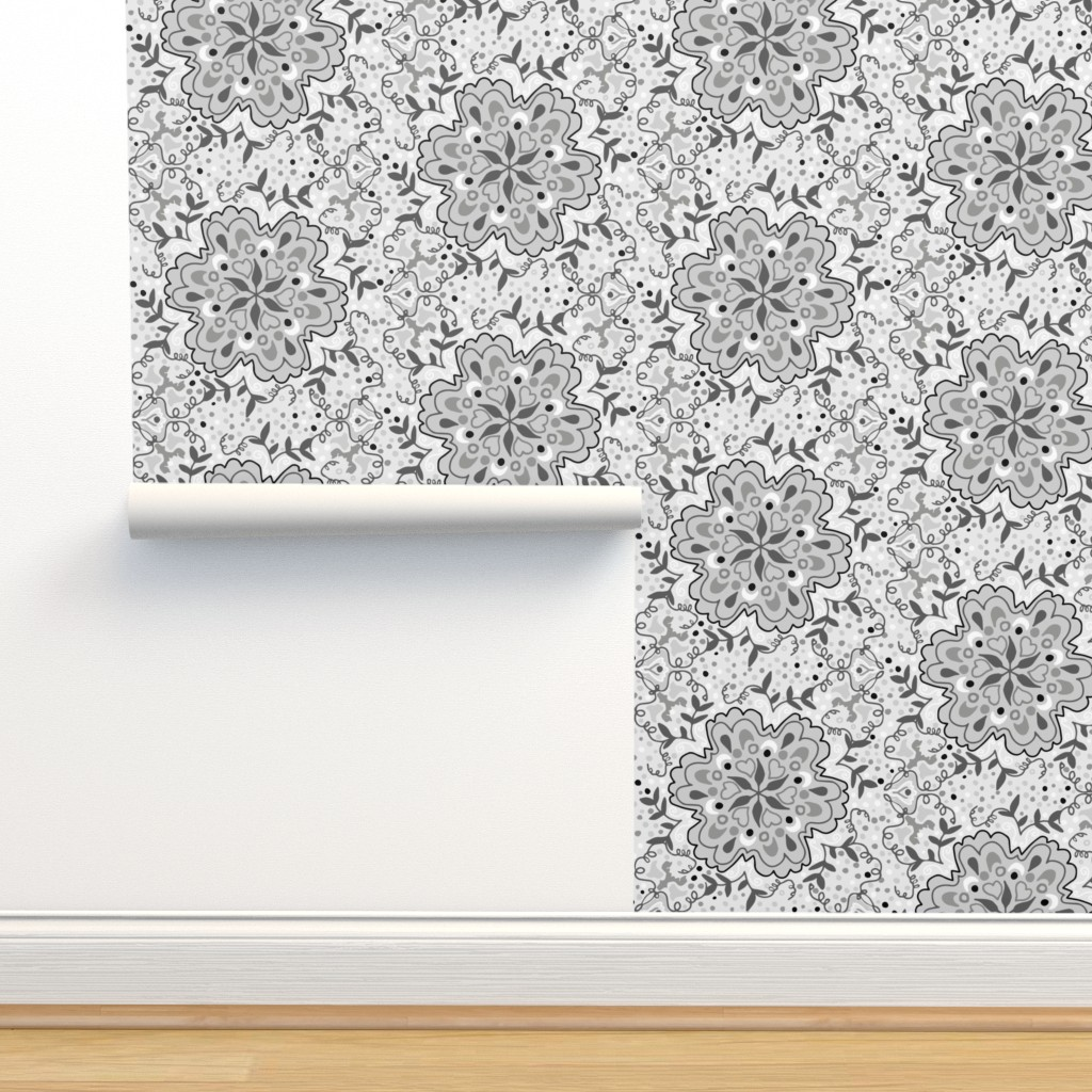 Isobar Durable Wallpaper featuring Gray Scale Floral Damask by jaanahalme