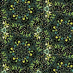 Black and Green Flower Damask