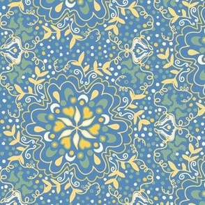 Blue and Yellow Flower Damask