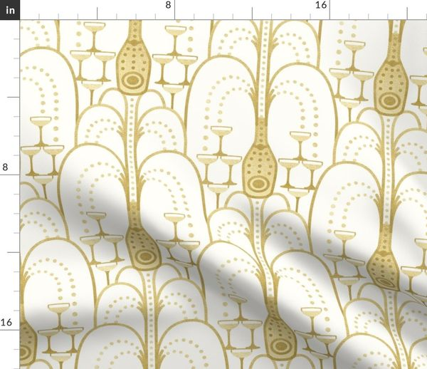 Stoff Meterware Art Deco Grün Gold Hochzeit Wein 1920er Jahre Silvester Champagner