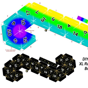 DIY XL D20 dice Plushy/bag Rainbow