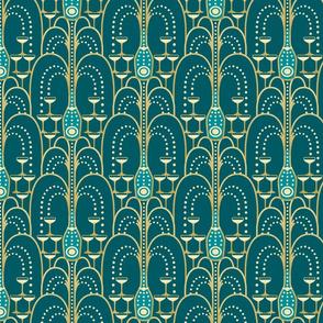 1920s Champagne Fountain blue medium
