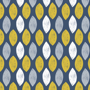 Geometric Leaf in Blue, Mustard and Grey