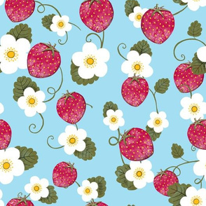 Intertwined Strawberries and Blossoms
