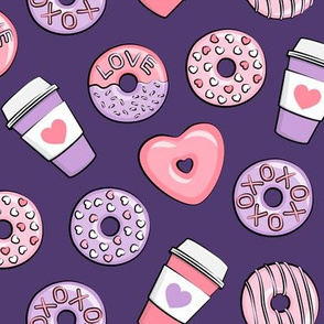 donuts and coffee - valentines day - pink and purple on dark purple