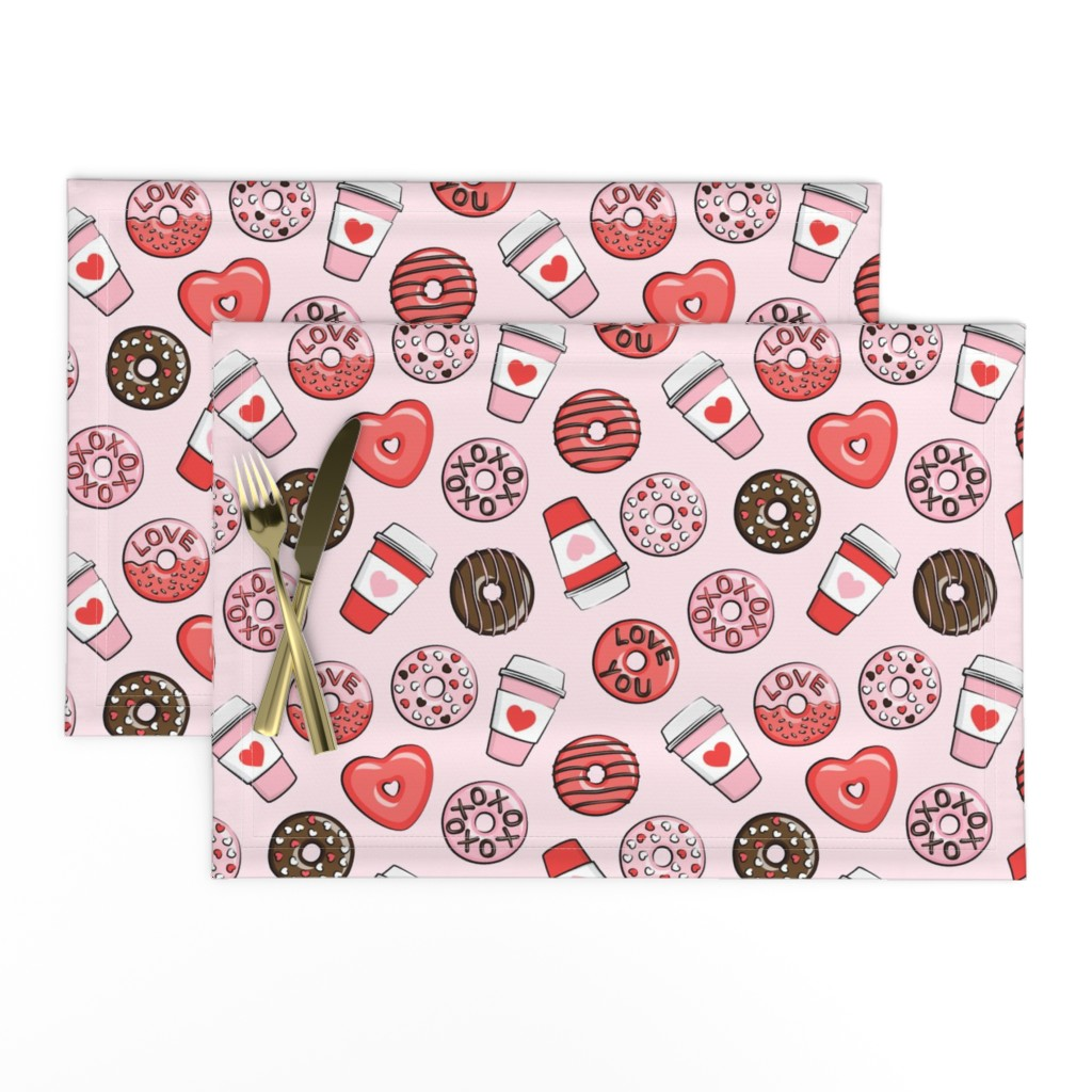 Lamona Cloth Placemats featuring donuts and coffee - valentines day - red, pink, & chocolate on pink by littlearrowdesign