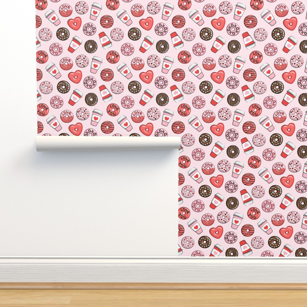 Isobar Durable Wallpaper featuring donuts and coffee - valentines day - red, pink, & chocolate on pink by littlearrowdesign